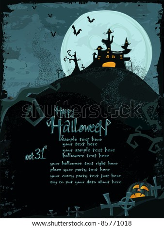 Halloween vector series. Halloween vector template with haunted castle - stock vector