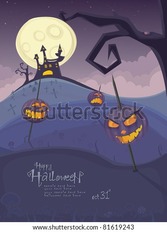 Halloween vector series.Vector Halloween template with night landscape, evil pumpkins, spooky naked tree, graveyard and haunted house with glowing moon and clouds in the back.