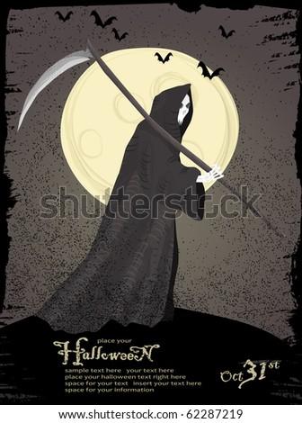 Halloween vector series.Vector Halloween theme. Grim reaper with scythe and bats.