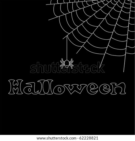 Halloween vector text with net and spider - stock vector