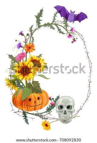 halloween vertical round frame