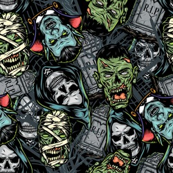 Halloween vintage colorful seamless pattern with tombstones creepy vampire grim reaper zombie mummy heads vector illustration