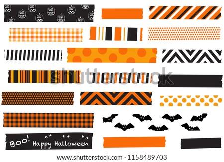 Halloween washi tape vector illustration. Black and orange masking tape strips. Semi-transparent tape strips. Halloween labels.
