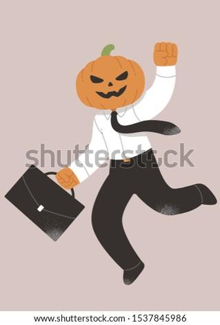 halloween  wearing a pumpkin on