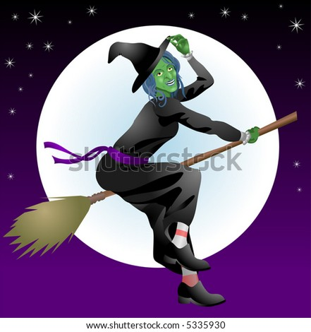 Halloween witch.  An illustration of a scary Halloween with riding her broomstick