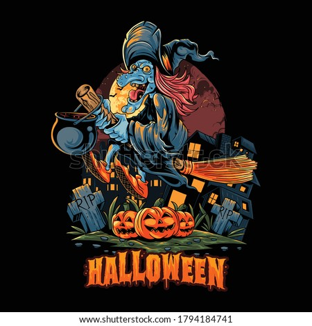 Halloween witch flies with a broom over the pile of halloween pumpkins and carries a pot full of poison. editable layers vector artwork