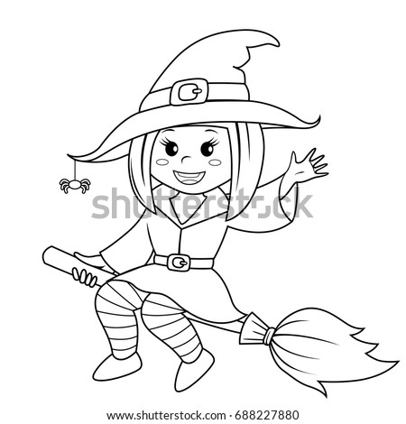 Halloween witch flying on broom. Black and white vector illustration for coloring book