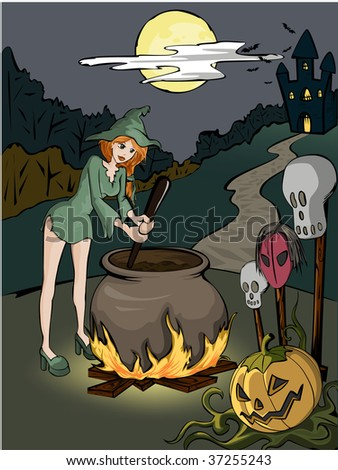 Halloween witch in the forest with coper is prepearing a poison