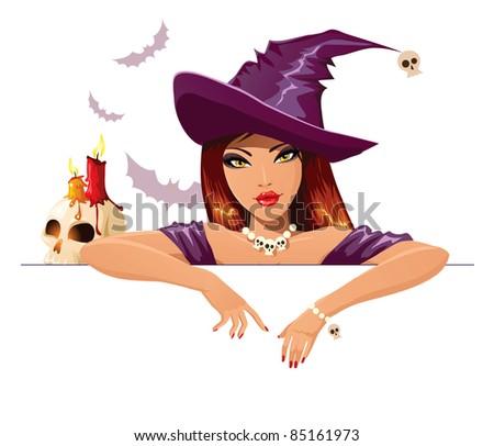 Halloween witch placard