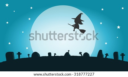 halloween witch silhouette on