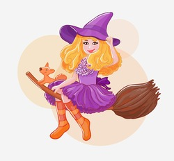 Halloween witch. Vector cute illustration. Little girl and fox
