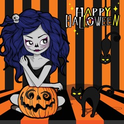 Halloween Witch with a carved Pumpkin and black cat.Cartoon female character illustration for halloween festival scary.