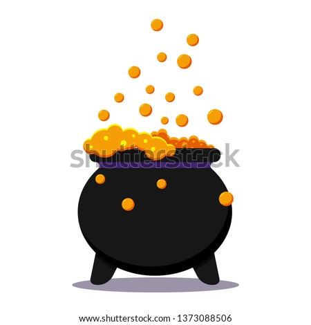 Halloween witches black cauldron with poison potion isolated on white background. Icon image of magical boiling and bubbling pot. Flat cartoon style vector illustration. Stock photo ©