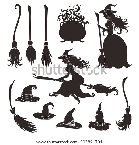 halloween witches with brooms