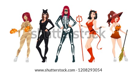 Halloween women costumes set. Attractive clothing for party. Cat, witch, skeleton, mummy, devil costumes for women. Isolated flat vector illustration on white background