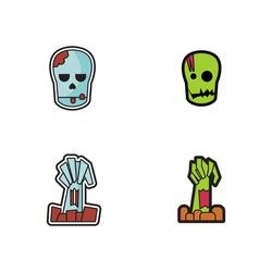 Halloween Zombie Head And Arm Icon Logo Vector Set Element