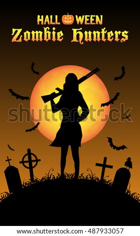 halloween zombie hunter with