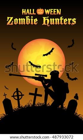halloween zombie hunter with