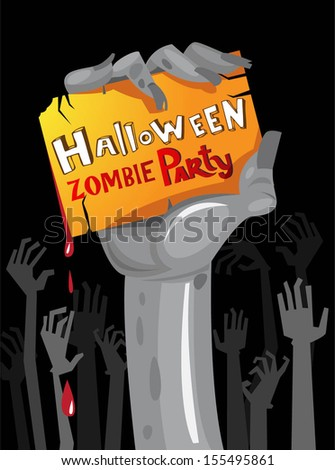 halloween zombie party poster