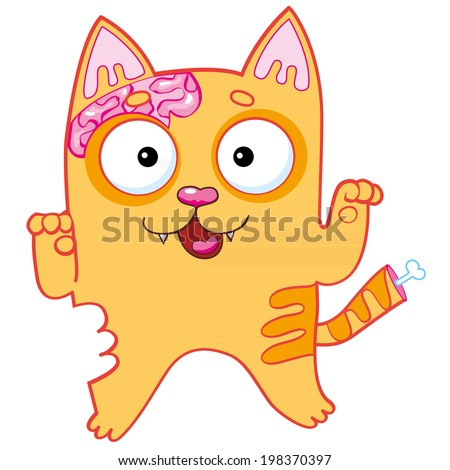 halloween zombie red cat