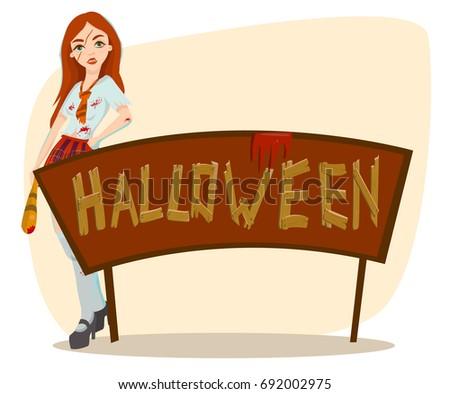 halloween zombie school girl