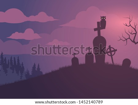 hallowen and graveyard background illustration Stock photo ©