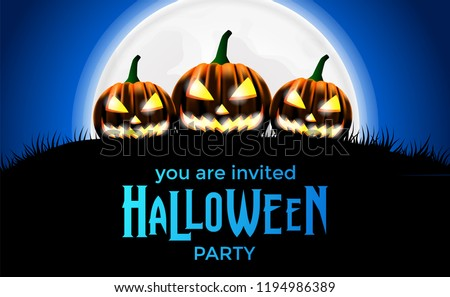 hallowen poster invitation template with three scary jack o lantern pumpkin can use for flyer brochure banner on social media or print media Stock photo ©