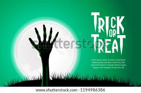 Hallowen poster invitation with zombie hand corpse from ground at the middle night with full moon and green sky template can use for flyer brochure banner on social media or print media Stock photo ©