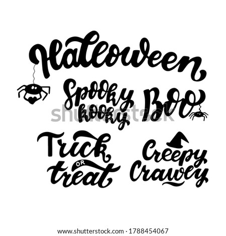 Hallowen quotes collection: Spooky kooky, Boo, Trick or treat, Creepy Crawly. Hand lettering for posters, greeting card, t-shirt prints. Halloween party 31 october Stock photo ©