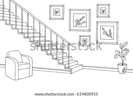 hallway graphic stairs black