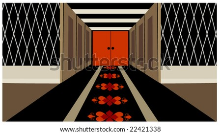 hallway with door at end