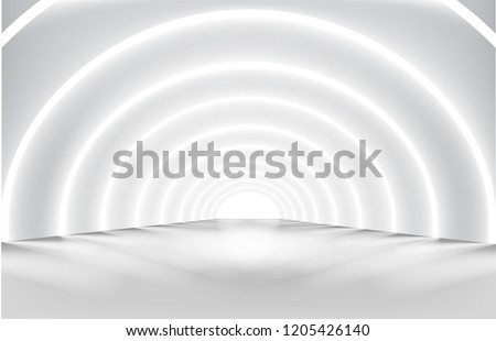 Hallway with lights. Illuminated corridor. Modern interior design. Vector illustration.