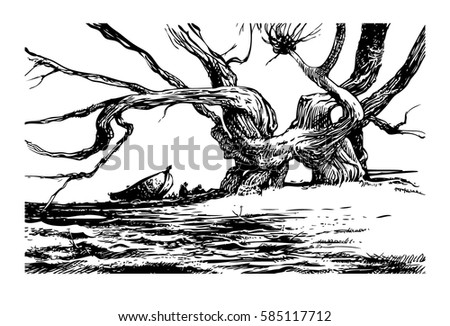 Halt of fishermen on the river bank at a branch tree. Black-and-white drawing. Engraving. Landscape.