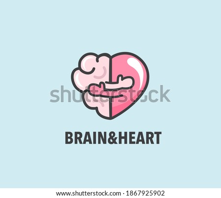 Halves of heart and brain that are hugging. Warm hugs of rational and emotion as symbol of health. Close embrace as physical and mental love logo. Banner, flyer, web poster. Vector illustration