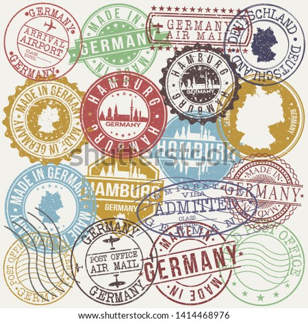 Hamburg germany Set of Stamps. Travel Stamp. Made In Product. Design Seals Old Style Insignia.
