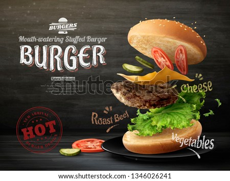Hamburger ads design on blackboard background in 3d illustration
