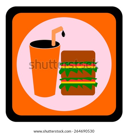 Hamburger and cola, Food and drink symbol vector