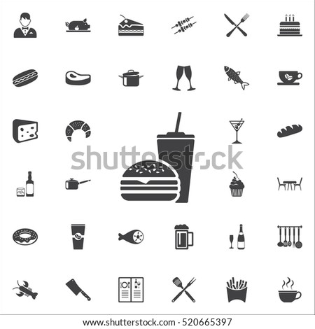 Hamburger and drink Fast food icon on the white background. restaurant set of icons