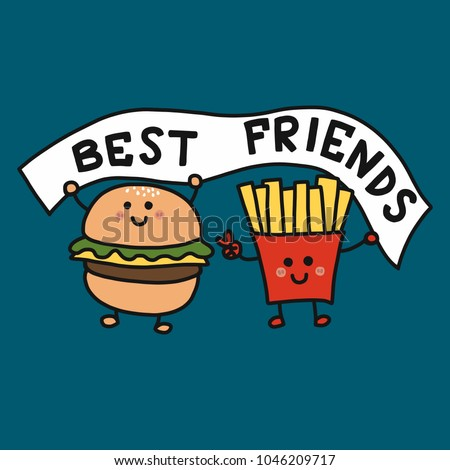 Hamburger and French-fries best friend cartoon vector illustration doodle style