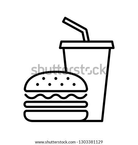 Hamburger and soda takeaway, Fast food icon, Outline flat design on white background, Vector illustration