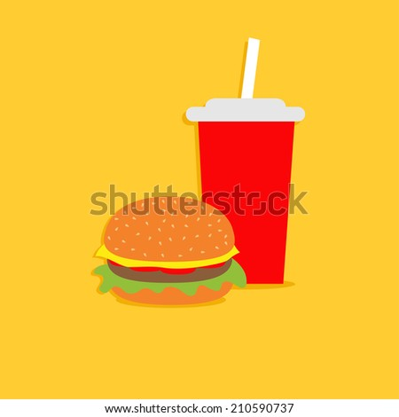 Hamburger and soda  with straw.  Cinema icon in flat dsign style. Vector illustration