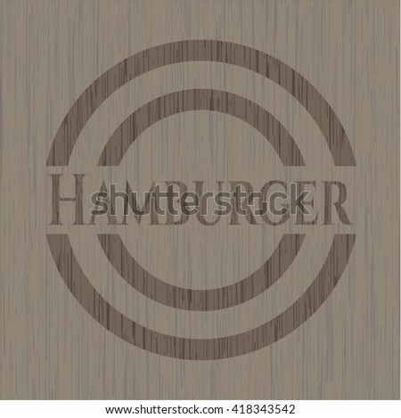 Hamburger badge with wood background