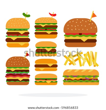 Hamburger, cheeseburger, sandwich, double burger with beef burger with cheese and bacon, french fries vector flat material design isolated on white