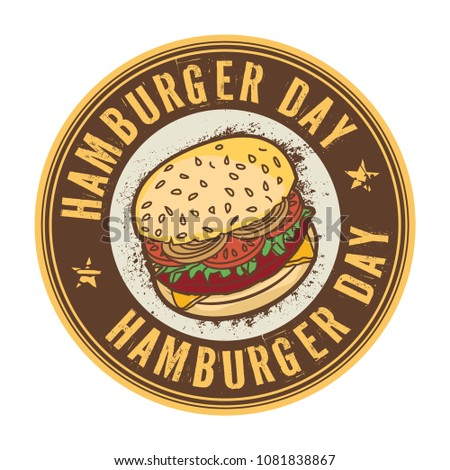 Hamburger Day, May 28, abstract rubber stamp or tag, vector Illustration