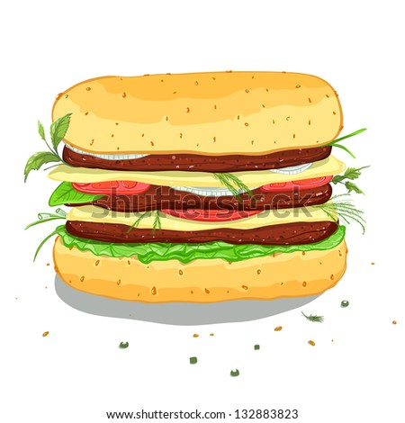 Hamburger Drawing. Illustration of a hamburger. Vector EPS8. No effects.