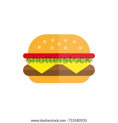 hamburger fast food icon flat burger flat vector illustration food and drink tasty burger summer picnic menu hamburger McDonald fast food restaurant cafe menu cheeseburger