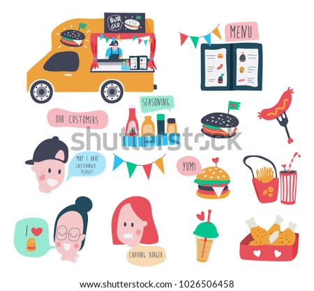Hamburger food truck with set of menu and cartoon customers characters, all in colorful doodle flat style, can be used for sticker, invitation, poster or banner, illustration, vector, white background