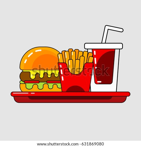 Shutterstock Hamburger, french fries and drink in vector