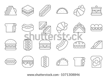 Hamburger, Hotdog, club sandwich, Mexican taco, egg, ham, salad sandwich, croissant, outline icon