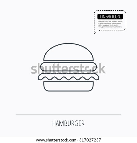 Hamburger icon. Fast food sign. Burger symbol. Linear outline icon. Speech bubble of dotted line. Vector
